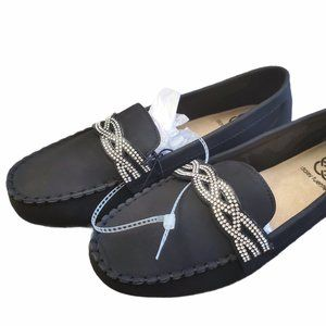 NWT DAISY FUENTES Black Loafers Size 9.5 M